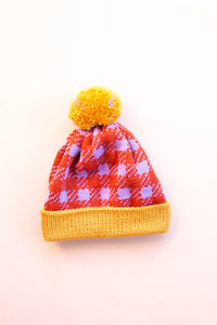 Checkered History Beanie - Tangerine + Lilac