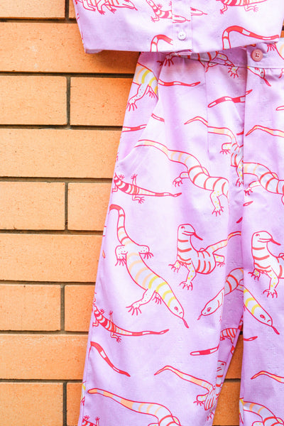 Goanna Print Crop - Handmade by Alice