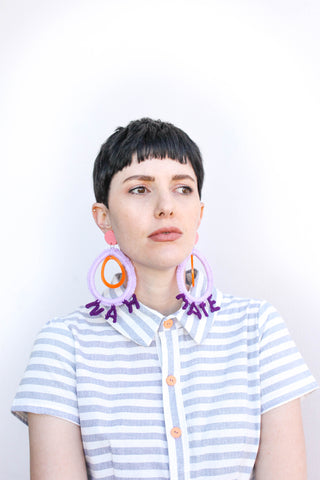 Nah Mate Nylon Crochet Earrings - Lilac + Eggplant