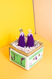 Eggplant Earrings - Handmade by Alice