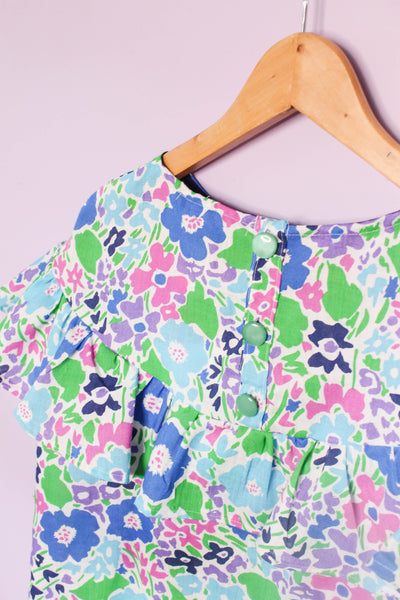 Vintage Floral Flounce Top - One off
