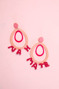 Nah Mate Nylon Crochet Earrings - Cerise + Pastel Pink