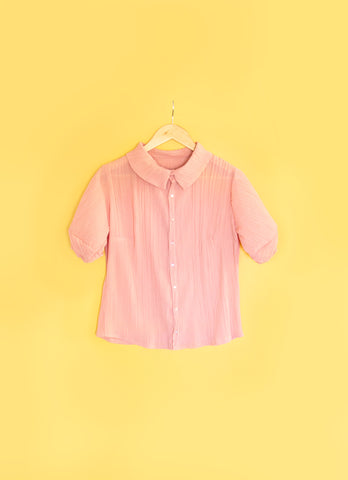Peachy Pleated Blouse - Handmade by Alice