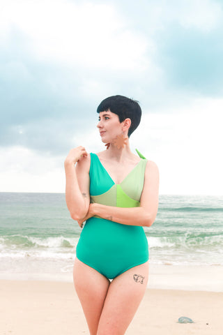 Block Colour Swimsuit - Green - Handmade by Alice