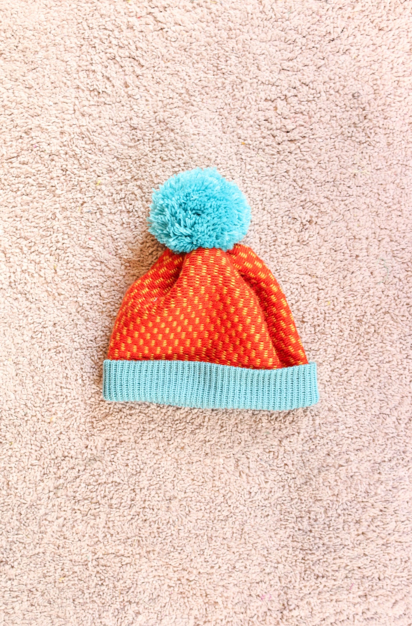 Fluffy Dot Dash Beanie - Tangerine + Blue