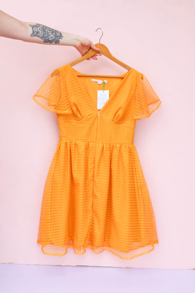Tangerine Vintage Curtain Dress - Handmade by Alice