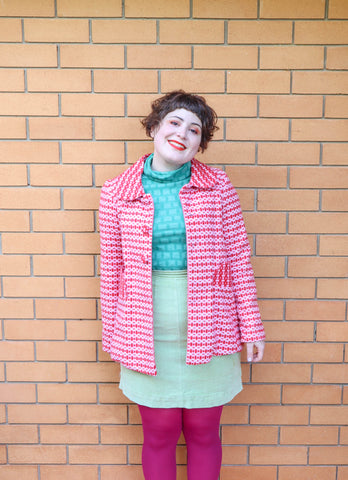 Pink/Red Vintage Print Coat - Handmade by Alice