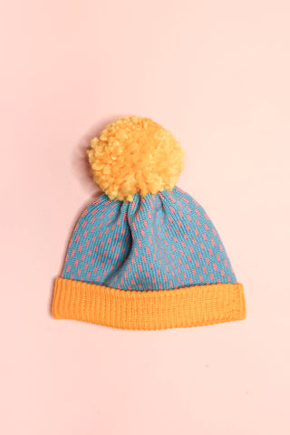 Dot Dash Beanie - Custard + Blue