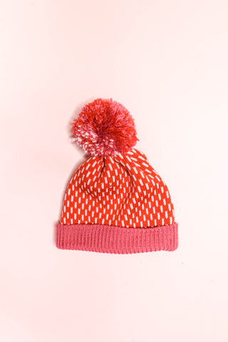 Dot Dash Beanie - Burnt Orange + Cerise