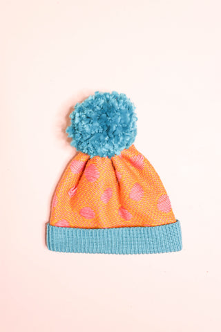 Fluffy Polka Dot Beanie - Custard + Blue
