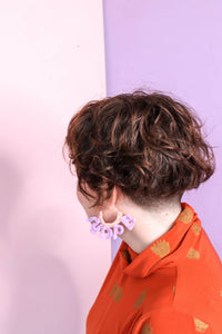 Nope Nylon Crochet Hope Earrings - Lilac + Peach