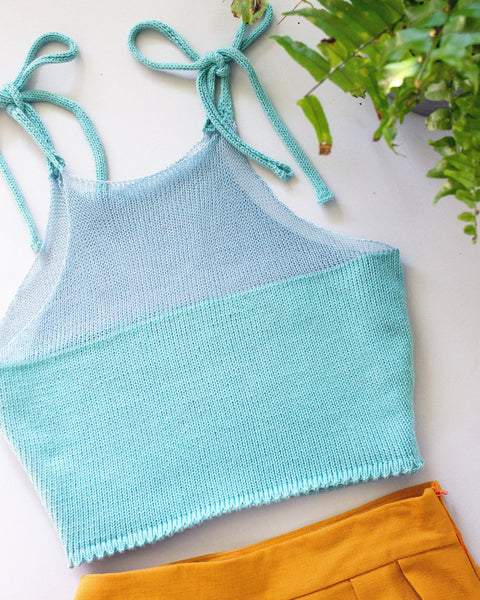 Cotton Knit Crop Top - Blue - Handmade by Alice
