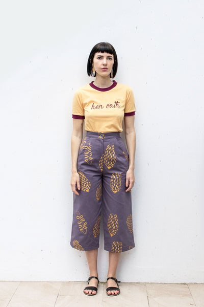 Golden Banksia Hand Printed Jeans - Handmade by Alice