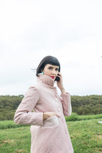 Pink Quilted Velvet Coat - Handmade by Alice