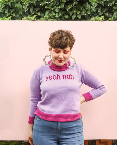 Yeah Nah Jumper - Lilac + Cerise - Small Batch!