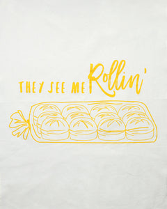 They See Me Rollin Tea Towel