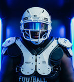 A Lineman with full Protection in the Element LINEMAN Shoulder Pads and Xenith Shadow.