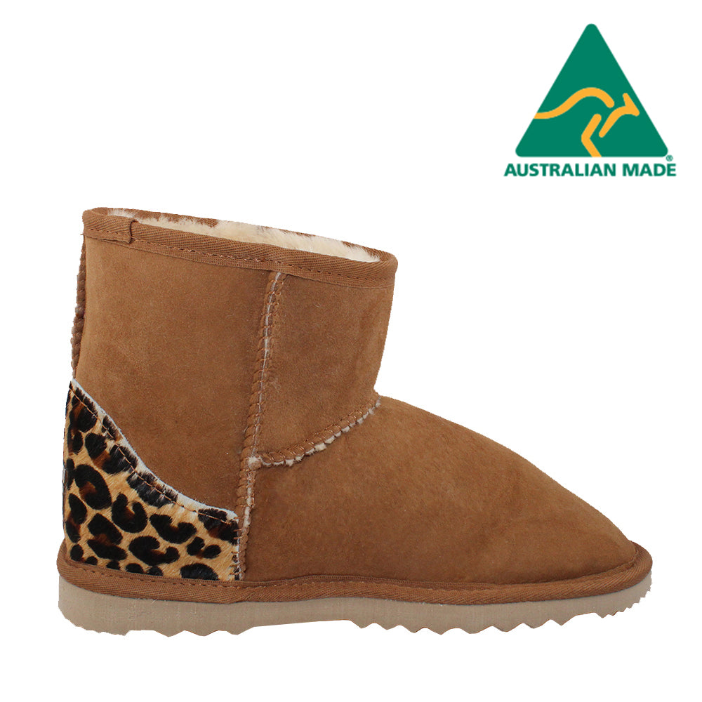 BONDI UGG - Crush Mini Sheepskin Boot - Chestnut Leopard