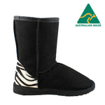 BONDI UGG - Crush Short Sheepskin Boot - Black Zebra