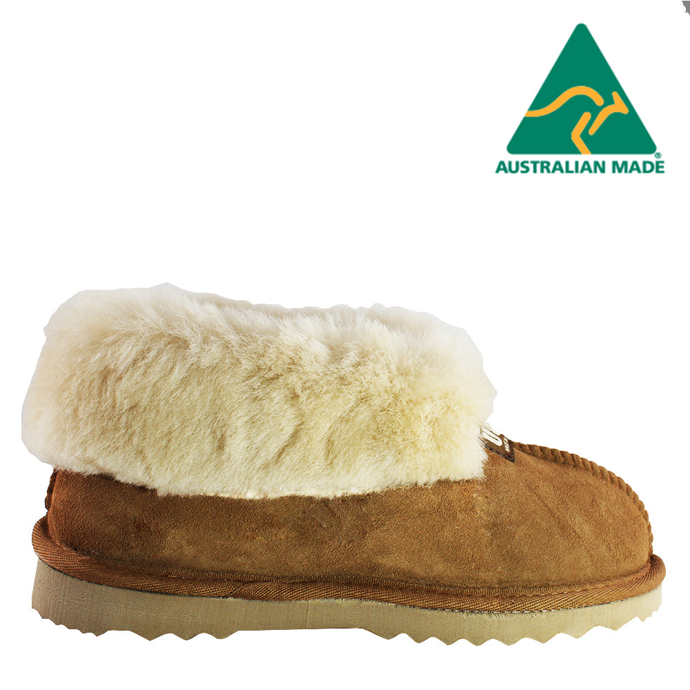 BONDI UGG - Wool Collar Sheepskin Slipper - Chestnut