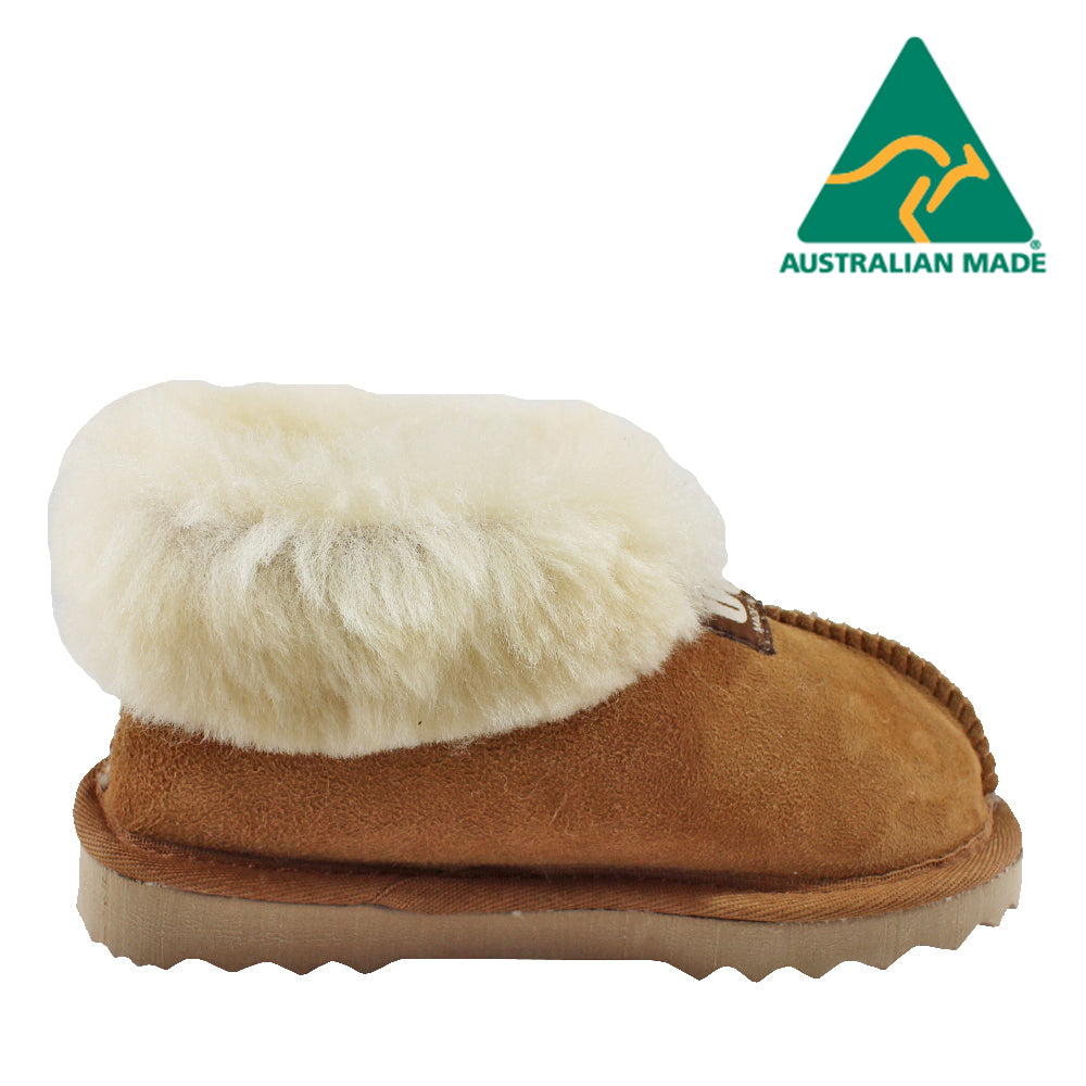 BONDI UGG - KIDS Wool Collar Sheepskin Slippers - Chestnut