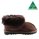 BONDI UGG - KIDS Wool Collar Sheepskin Slippers - Chocolate