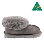 BONDI UGG - KIDS Wool Collar Sheepskin Slippers - Grey