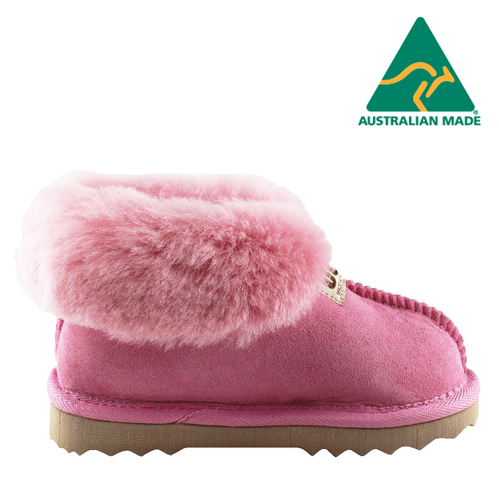 BONDI UGG - KIDS Wool Collar Sheepskin Slippers - Pink