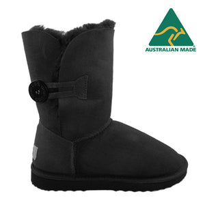BONDI UGG - Chloe Short Wood Button Sheepskin Boot - Black