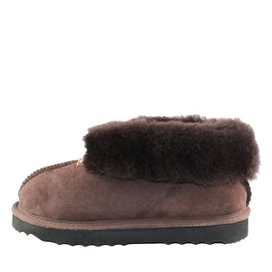 BONDI UGG - Wool Collar Sheepskin Slipper - Chocolate
