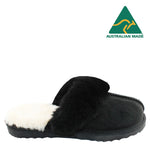 BONDI UGG - Wool Collar Sheepskin Scuff - Black