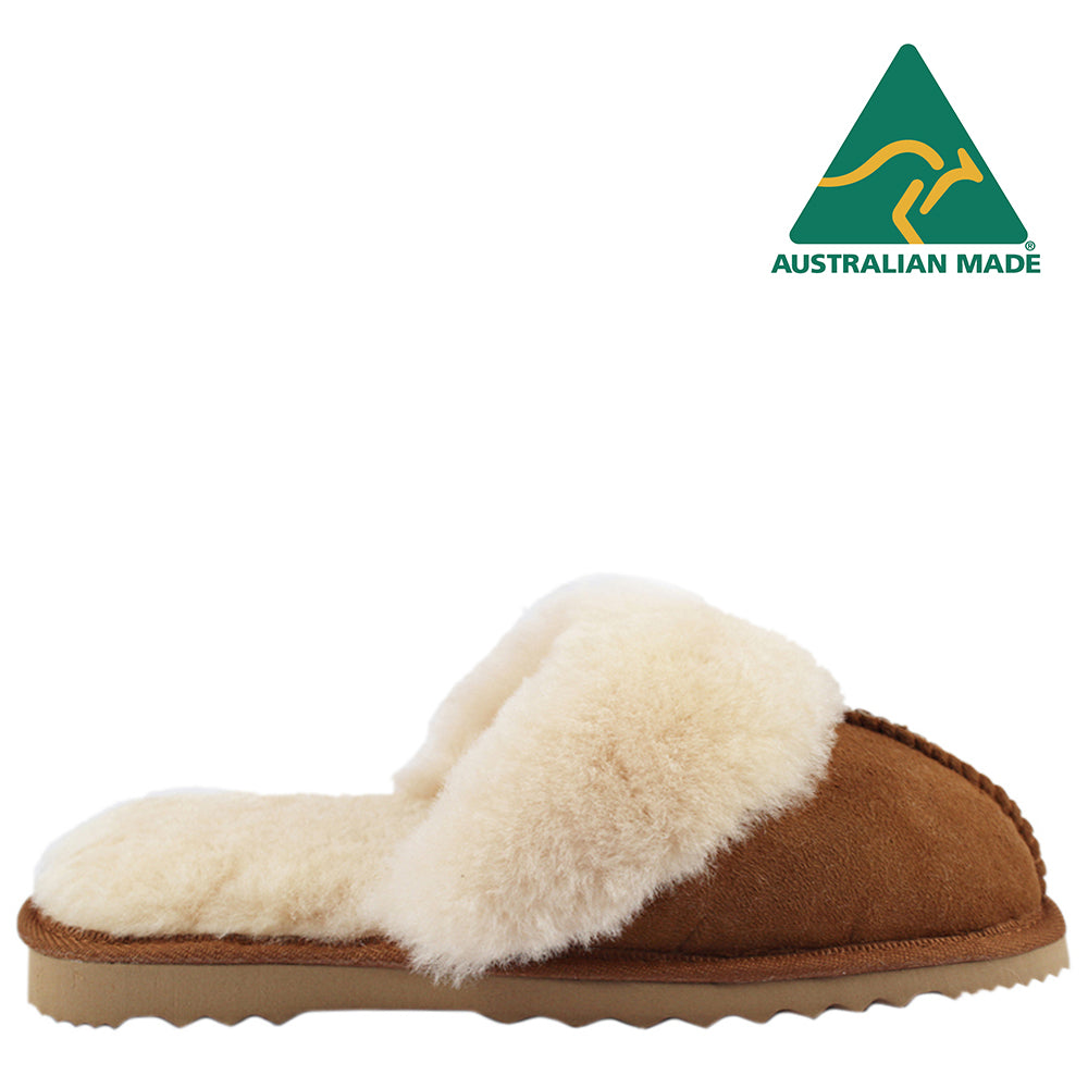 BONDI UGG - Wool Collar Sheepskin Scuff - Chestnut