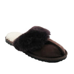 BONDI UGG - Wool Collar Sheepskin Scuff - Chocolate