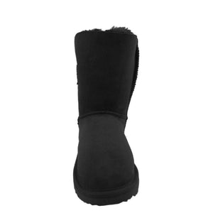 BONDI UGG - Chloe Short Crystal Button Sheepskin Boot - Black