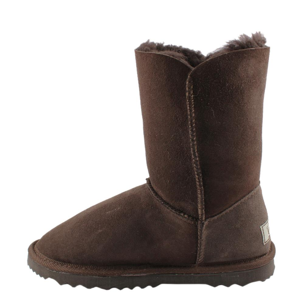 BONDI UGG - Chloe Short Crystal Button Sheepskin Boot - Chocolate