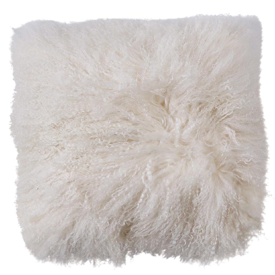 Mongolian Sheepskin Cushion - White