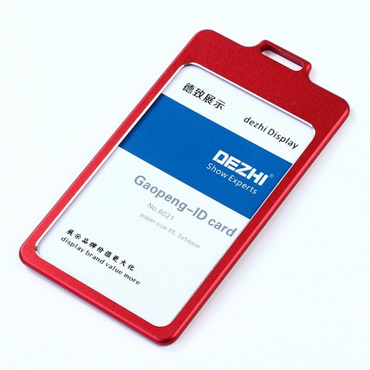 f772ef8b4e4d ... DEZHI High Gloss Business ID Card Holder with 1.5cm Neck Strap,Metal  Name Card ...