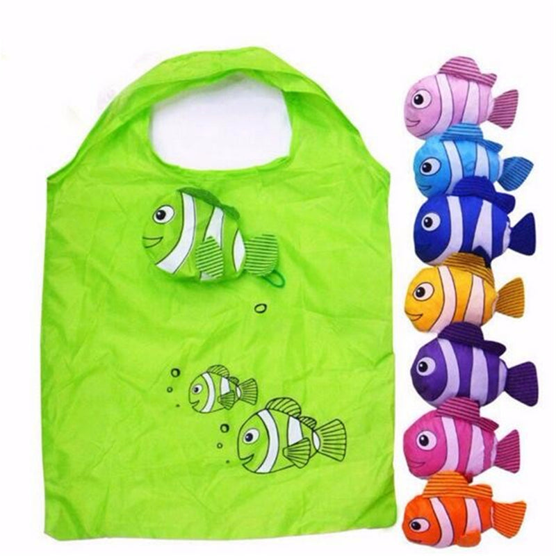 40b9f4a48fa Nylon Reusable Shopping Bags Foldable Eco Bag Tropical Fish Tote Bag Large  Capacity Rose Storage Handbags ...