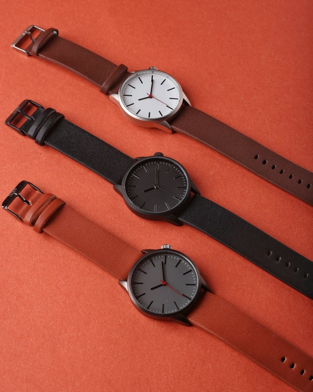 Leupp Ueno Beige and Silver Leather minimalist watch with changeable strap for men and women
