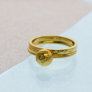 Small Moonrock Ring - Gold plated