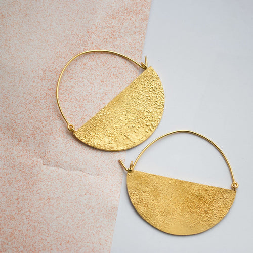 Half Moon Hoops Large - Gold Plated