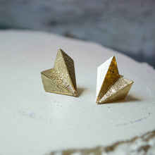 Load image into Gallery viewer, A pair of unusual fan shaped earrings. The silver is folded  like origami paper and has a rough rustic texture. They are made in recyceld sterling silver and plated with 24ct gold. Made in Copenhagen by Scottish designer Caroline Cloughley.