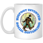 Bigfoot Invented Social Distancing White Mug