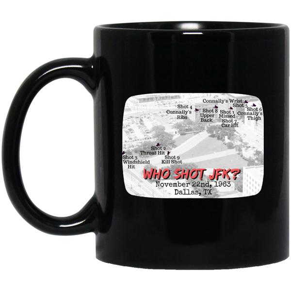 Who Shot JFK? Black Mug
