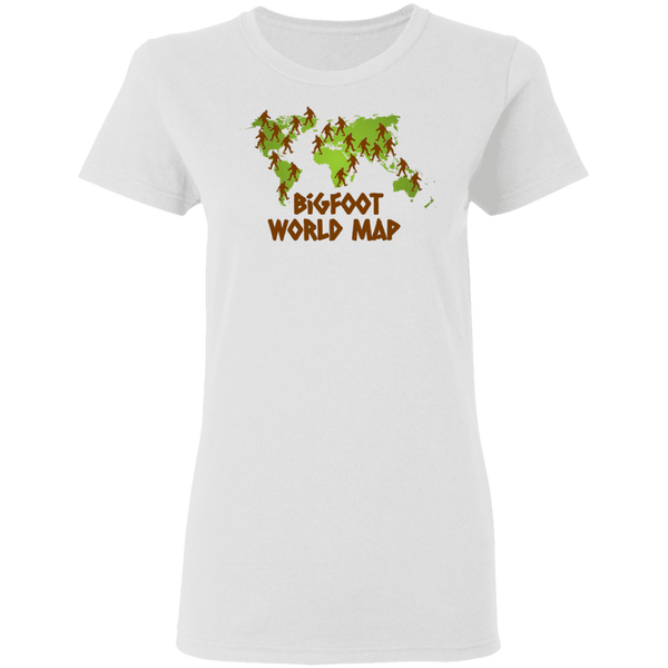 Bigfoot World Map Women's Tee