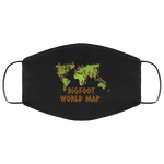 Bigfoot World Map Face Mask