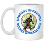 Bigfoot Approved Social Distancing White Mug