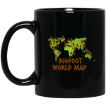 Bigfoot World Map Black Mug