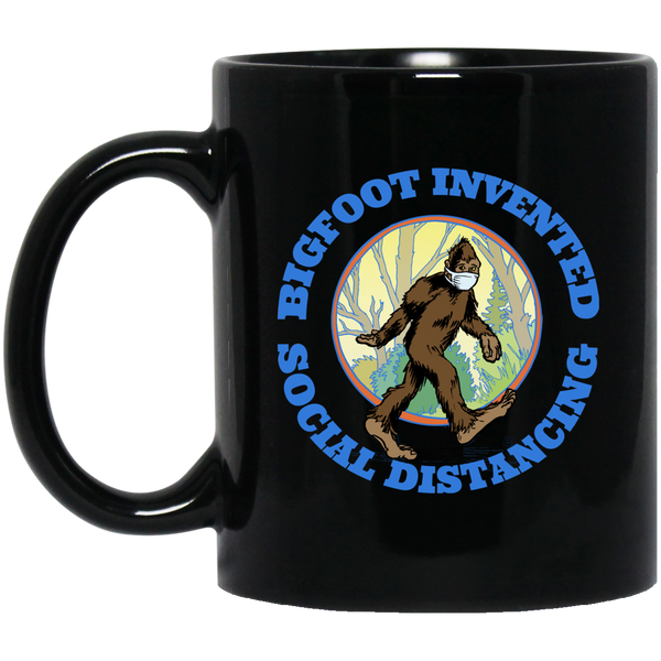Bigfoot Invented Social Distancing Black Mug