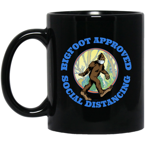 Bigfoot Approved Social Distancing Black Mug